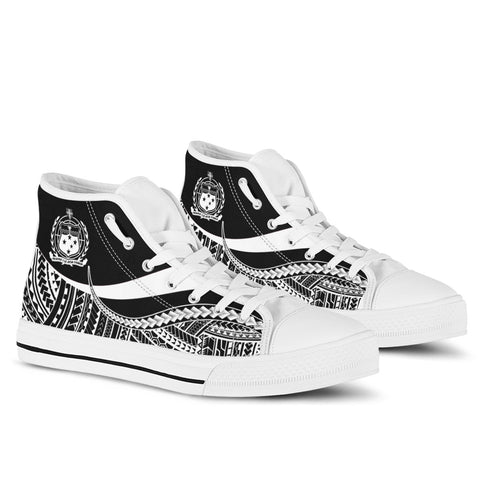 Samoa High Top Shoes White - Polynesian Tentacle Tribal Pattern - BN11