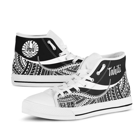 Tahiti High Top Shoes White - Polynesian Tentacle Tribal Pattern - BN11