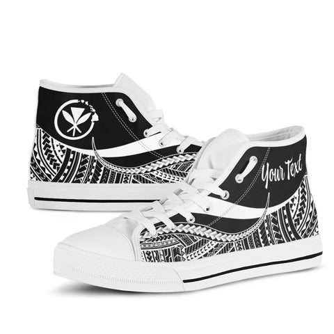 Hawaii Custom Personalised High Top Shoes White - Polynesian Tentacle Tribal Pattern - BN11