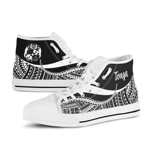 Image of Tonga High Top Shoes White - Polynesian Tentacle Tribal Pattern - BN11