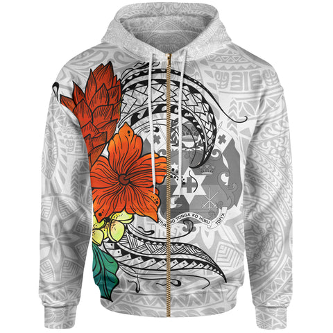 Tonga Zip Hoodie - Tropical Flowers White Patterns Style