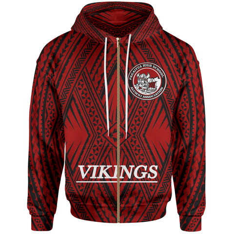 Samoa Zip Hoodie - Vikings Fagaitua High School Polynesian Patterns