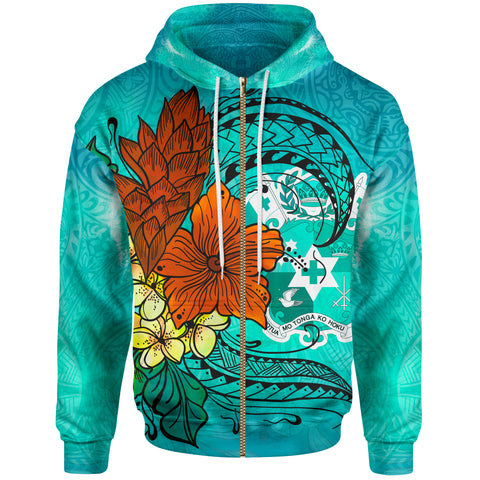 Tonga Zip Hoodie - Tropical Flowers Style - BN01