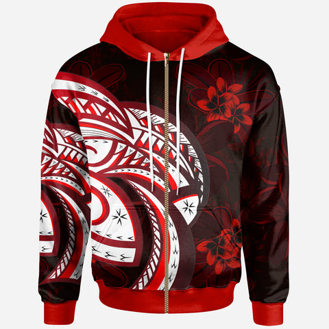 Image of Polynesian Zip-Up Hoodie - Plumeria Flowers Seamless Pattern - BN20