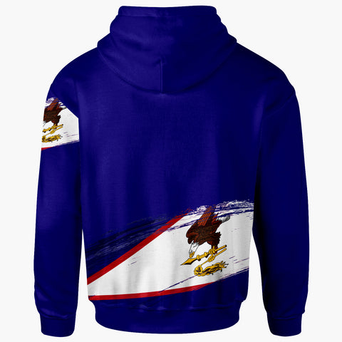 Image of American Samoa Custom Personalised Zip Hoodie - Claws Pattern With Flag - BN20