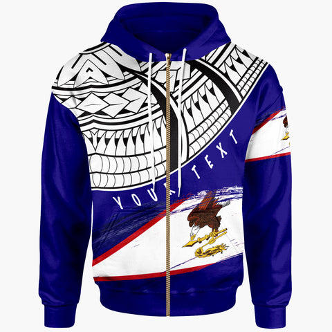 American Samoa Custom Personalised Zip Hoodie - Claws Pattern With Flag - BN20