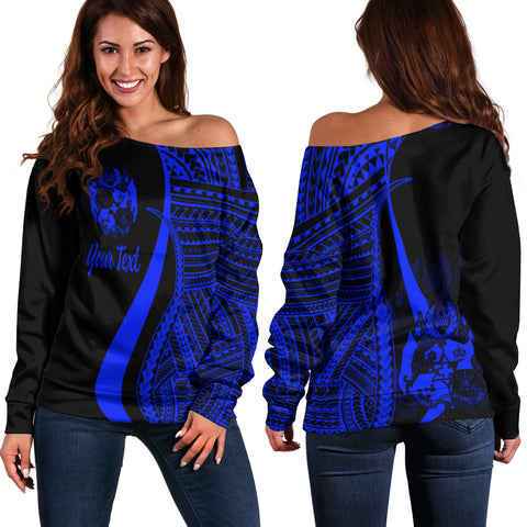 Tonga Custom Personalised Women's Off Shoulder Sweater - Blue Polynesian Tentacle Tribal Pattern