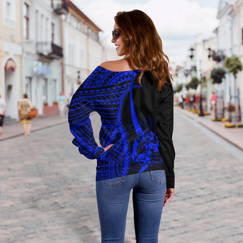 Image of Tonga Custom Personalised Women's Off Shoulder Sweater - Blue Polynesian Tentacle Tribal Pattern - BN11