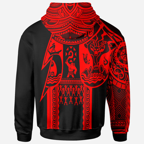 Samoa All Over Hoodie - Samoa Coat Of Arms Red New - BN17