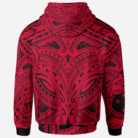 Samoa All Over Hoodie - Samoa Coat Of Arms (Red) - BN17