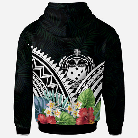 Samoa Polynesian Zip-Up Hoodie - Samoa Coat of Arms & Polynesian Tropical Flowers White - BN22