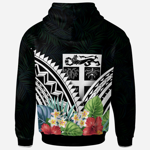 Image of Fiji Polynesian Zip-Up Hoodie - Fiji Coat of Arms & Polynesian Tropical Flowers White - BN22
