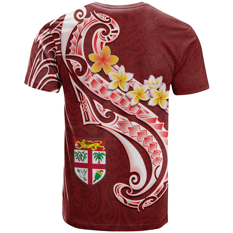 Fiji Custom Personalised T - Shirt- Fiji Seal  Polynesian Patterns Plumeria (Red)