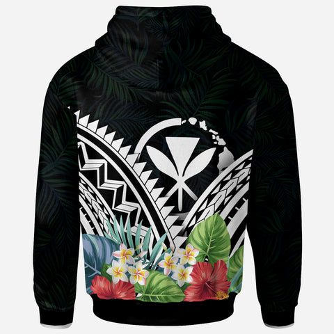 Hawaii Polynesian Zip-Up Hoodie -Hawaii Coat of Arms & Polynesian Tropical Flowers White - BN22