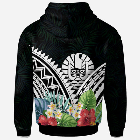 Image of Tahiti Polynesian Zip-Up Hoodie - Tahiti Coat of Arms & Polynesian Tropical Flowers White - BN22