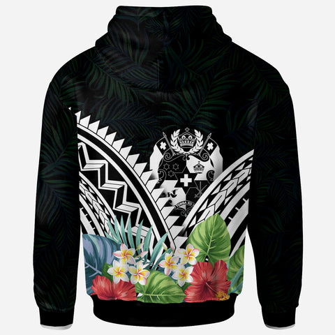 Tonga Polynesian Zip-Up Hoodie - Tonga Coat of Arms & Polynesian Tropical Flowers White - BN22