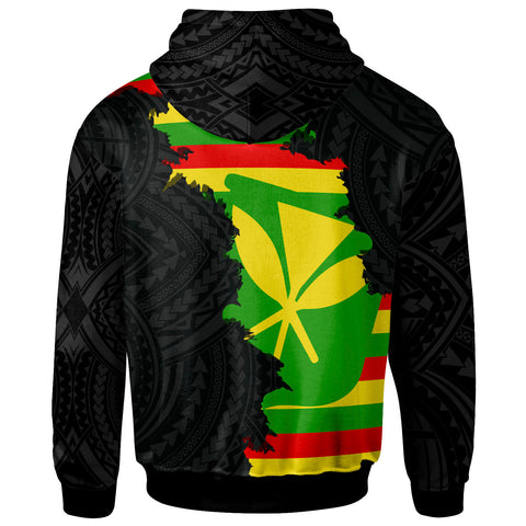 Hawaii Zip-Up Hoodie - Wrap Flag and Polynesian Paterns