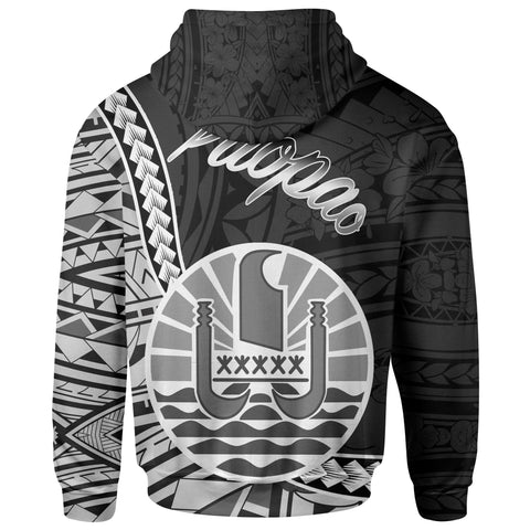French Polynesia Zip Hoodie - Paopao Seal Of French Polynesia Polynesian Patterns