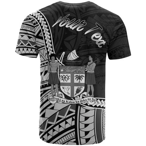 Image of Fiji T-Shirt - Custom Seal Of Fiji Polynesian Patterns - BN01
