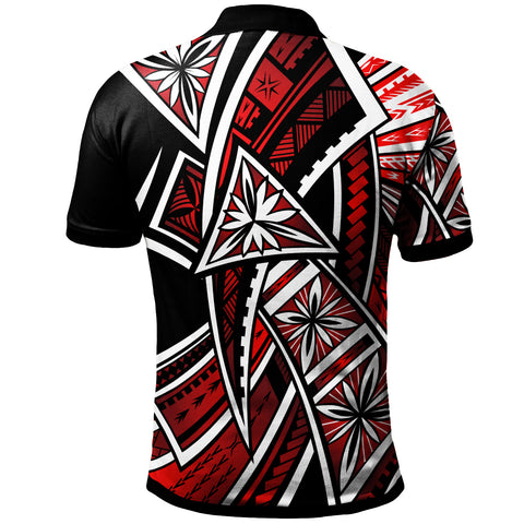 Chuuk  Polo Shirt - Tribal Flower Special Pattern Red Color - BN20