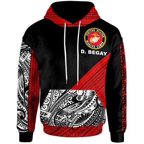 Image of Custom Personalised Hoodie - Polynesian Diagonal Pattern Red - BN20