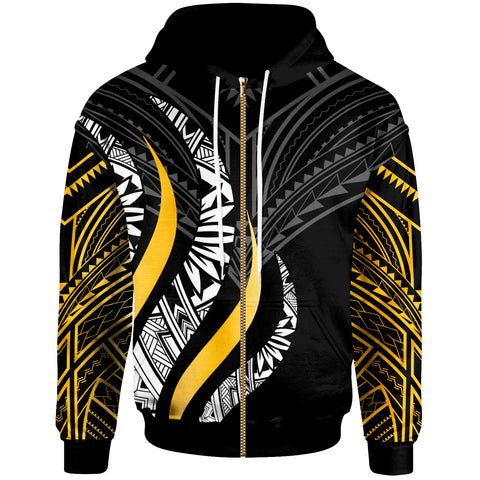 Image of Personalised Zip Hoodie - Polynesian Strong Fire Pattern Gold - BN20