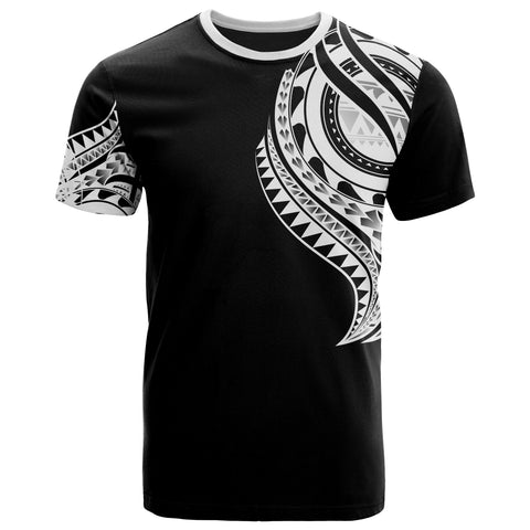 Tonga T-Shirt - Tonga Tatau White Patterns With Coat Of Arms - BN01