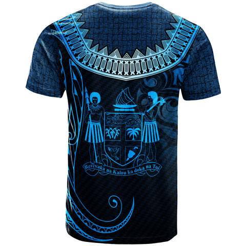 Image of Fiji Custom Personalised  T- Shirt - Serrated Pattern Blue Color - BN20