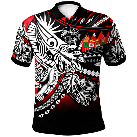 Fiji Polo Shirt - Tribal Jungle Red Pattern - BN20