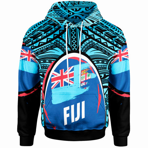 Fiji Hoodie - Polynesian Pattern With Flag - BN20
