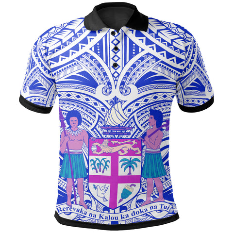 Fiji All Over Polo Shirt - FiJi Coat Of Arm (Blue)- BN17