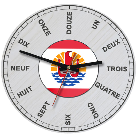 Image of French Polynesia Wooden Wall Clock - BN09