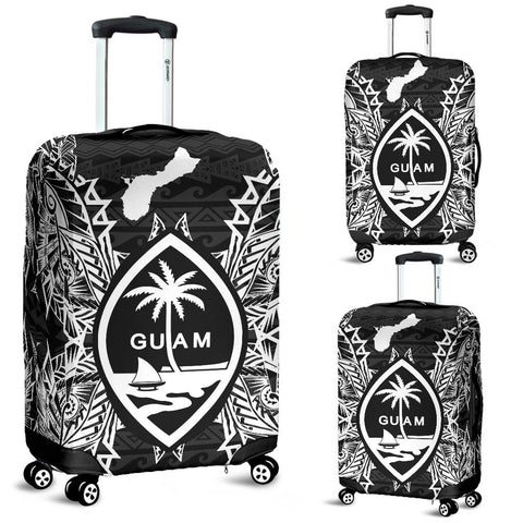 Guam Polynesian Luggage Covers Map Black