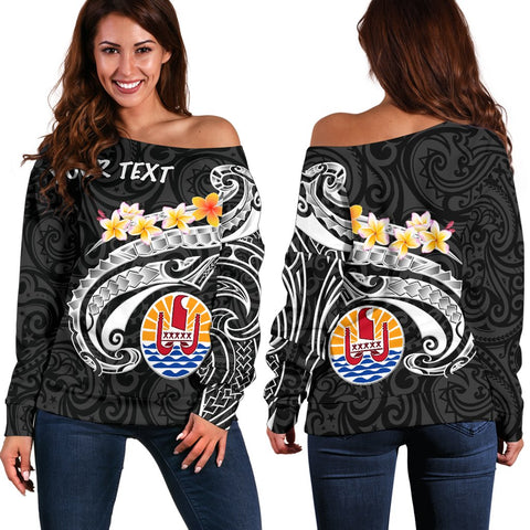 Tahiti Custom Personalised Women's Off Shoulder Sweater - Tahiti Seal Polynesian Patterns Plumeria (Black)
