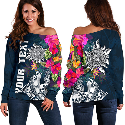 Polynesian Custom Personalised Women's Off Shoulder Sweater - Summer Vibes