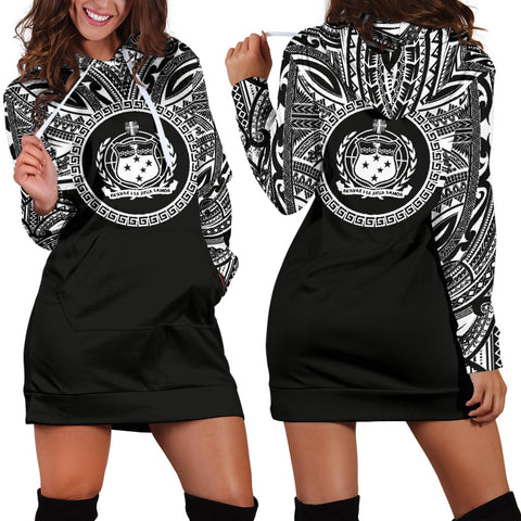 Samoa Women Hoodie Dress - Samoa Coat Of Arms Polynesian Black Color