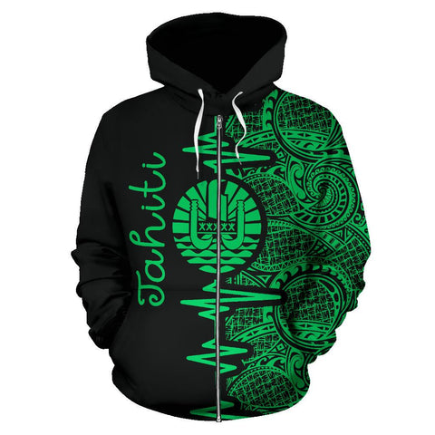 Image of Tahiti Heartbeat Hoodie - Polynesian Pattern Green Zip-up Version TH0 1ST