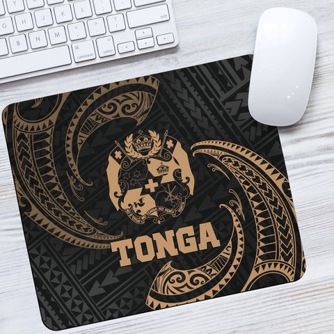 Tonga Polynesian Mouse Pad - Gold Tribal Wave