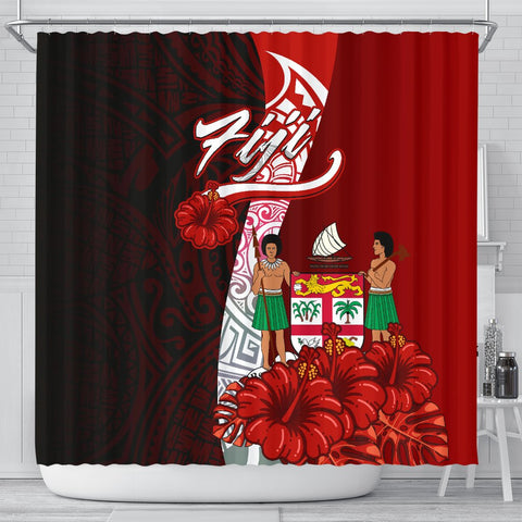 Fiji Polynesian Shower Curtain - Coat Of Arm With Hibiscus