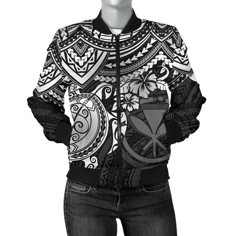 Polynesian Hawaii Bomber Jacket (Women) - White Turtle