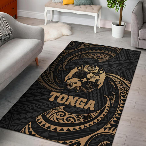 Tonga Polynesian Area Rug - Gold Tribal Wave
