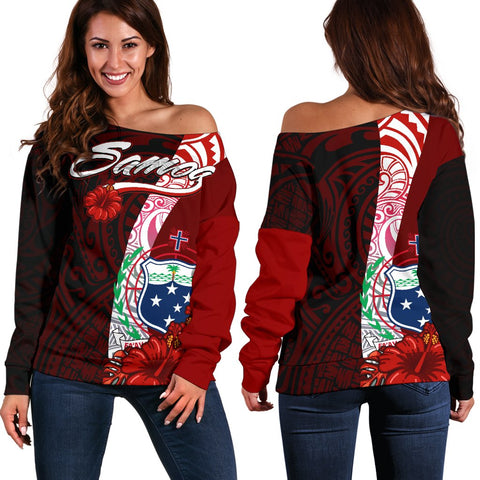 Samoa Polynesian Women's Off Shoulder Sweater - Coat Of Arm With Hibiscus - BN12
