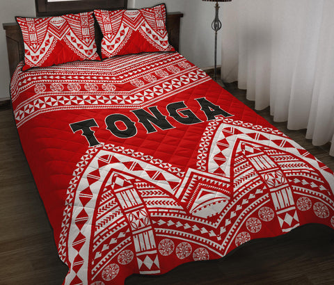 Image of Tonga Polynesian Tribal Pattern Quilt Bed Set - BN12