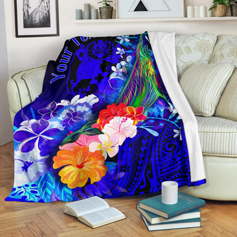 Tonga Custom Personalised Premium Blanket - Humpback Whale with Tropical Flowers (Blue)