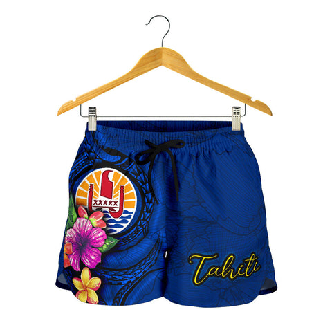 Tahiti Polynesian Women's Shorts - Floral With Seal Blue - BN12