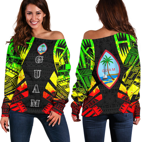 Image of Guam Women's Off Shoulder Sweater - Polynesian Tattoo Reggae