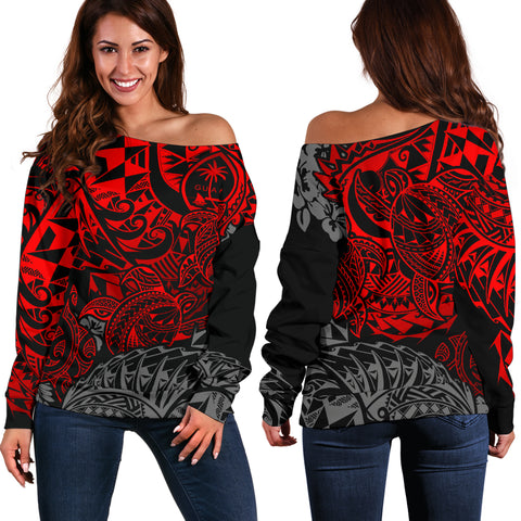 Guam Polynesian Off Shoulder Sweater (Women) - Red Turtle Flowing