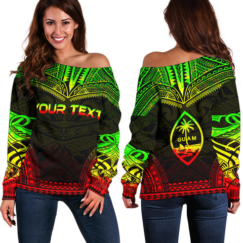 Guam Polynesian Chief Custom Personalised Women's Off Shoulder Sweater - Reggae Version - Polynesian Apparel, Poly Clothing, Women Sweater