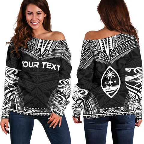 Image of Guam Polynesian Chief Custom Personalised Women's Off Shoulder Sweater - Black Version - Polynesian Apparel, Poly Clothing, Women Sweater