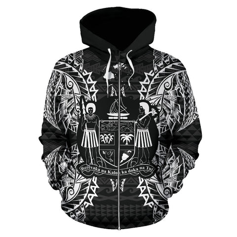 Fiji Polynesian All Over Zip Up Hoodie Map Black